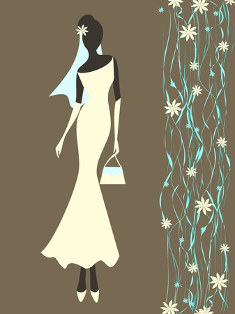 Vector illustration of a young elegant bride. Vector