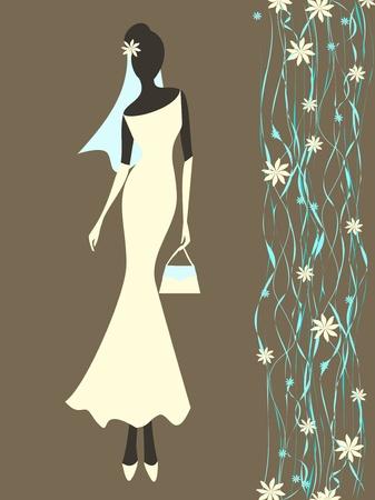 purse: Vector illustration of a young elegant bride.