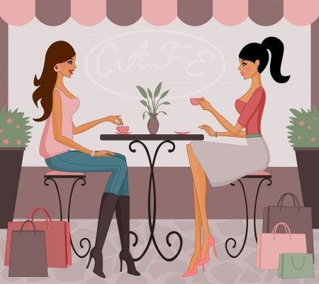 Vector illustration of two young fashionable women having coffee and chatting after shopping together.