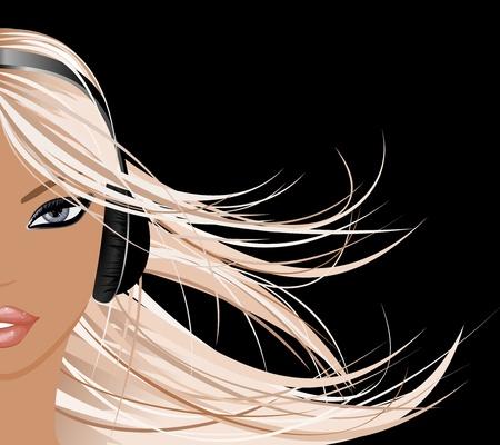 Una bella muchacha rubia con auriculares.