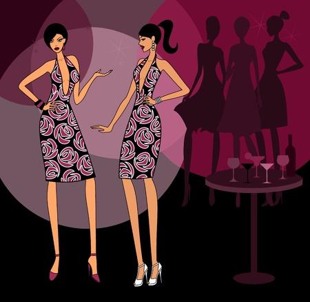 Dos chicas con el mismo vestido en una fiesta. Los elementos se agrupan y en capas para editar fácilmente.