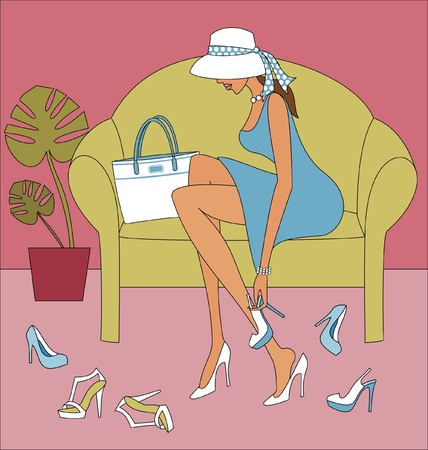 A young elegant woman trying on high-heeled shoes. Vector