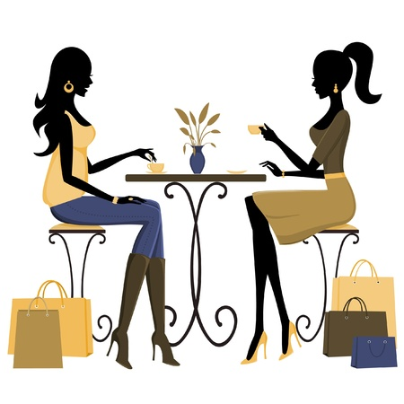 Two young fashionable women having coffee and chatting after a day of shopping. Vector