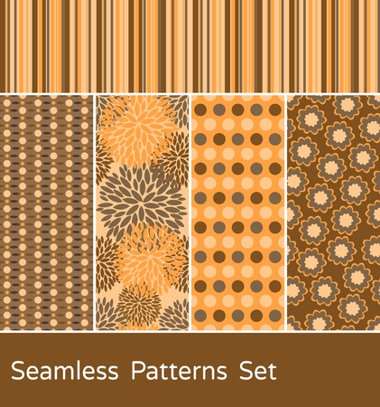 A set of 5 colorful seamless patterns. Vector