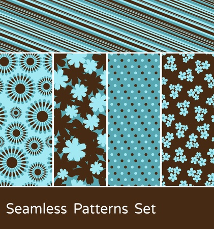 brown design: A set of 5 colorful seamless patterns.