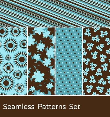 Een set van 5 gekleurde naadloze patronen.