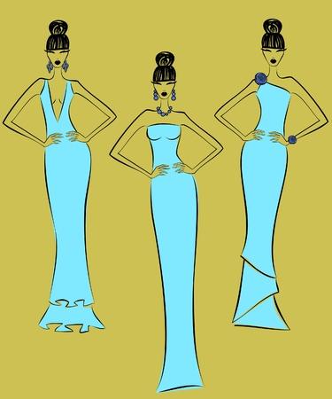 Illustration of three fashion models posing in elegant light blue dresses. Vector