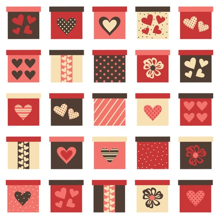Collection of 25 different ValentinebirthdayChristmas presents isolated on white Vector