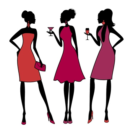Three young fashionable girls at a cocktail party. Elements are grouped and layered for easy editing. Vector