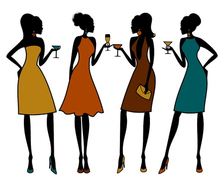 Illustratie van de groep vrouwelijke vrienden met een cocktail party. Elementen worden gegroepeerd en gelaagd voor eenvoudige bewerking. Vector Illustratie