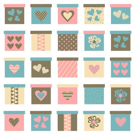 Colección de cajas de regalo lindo en colores pastel aislado en blanco. Los elementos se agrupan para facilitar la edición.