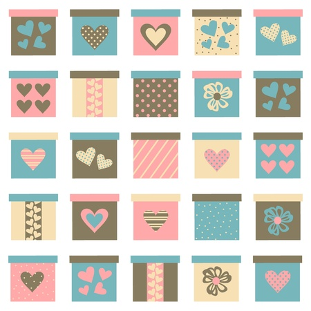 polka dot wallpaper: Collection of cute gift boxes in pastel colors isolated on white. Elements are grouped  for easy editing.