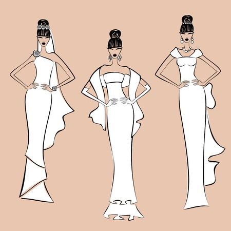 Three fashion models wearing elegant wedding gowns. Elements are grouped and layered for easy editing. Vector