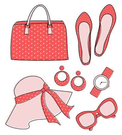 Stylish set of female fashion accessories isolated on white. Elements are grouped and layered for easy editing. Vector