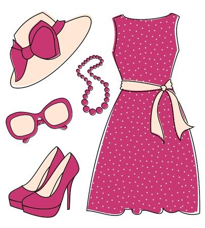 Conjunto de accesorios de moda con estilo femenino aislado en blanco. Los elementos se agrupan y en capas para editar f�cilmente.