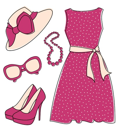 Stylish set of female fashion accessories isolated on white. Elements are grouped and layered for easy editing. Stock Vector - 11801141
