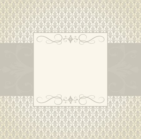 grouped: Greeting card template in vintage style. Elements are grouped and layered for easy editng.