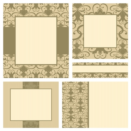 A set of 5 greeting card templates in vintage style. Each template is grouped and placed on a separate layer for easy editing. Vector