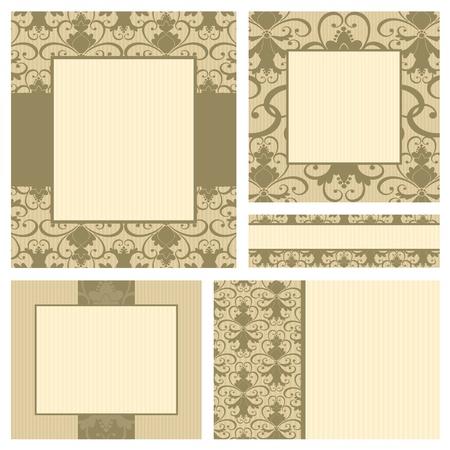 Un conjunto de 5 plantillas de tarjetas de felicitación en estilo vintage. Cada plantilla se agrupan y se colocan en una capa separada para facilitar la edición.