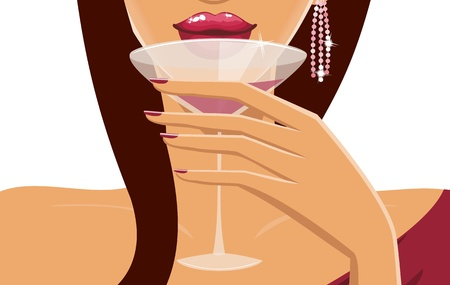 Close-up of a beautiful young woman having a cocktail. Vector
