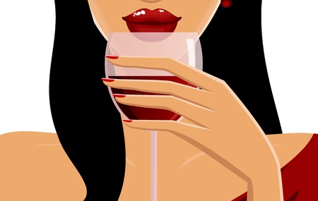 Close-up of a beautiful young woman drinking red wine.  Vector