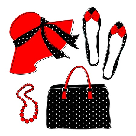 Stylish retro set of female fashion accessories isolated on white. Grouped and layered for easy editing.  Vector