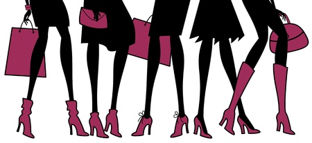 glamour shopping: Illustration of different types of elegant female shoes. Elements are grouped for easy editing