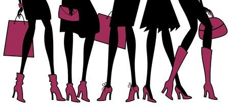chicas de compras: Ilustraci�n de diferentes tipos de elegantes zapatos femeninos. Los elementos se agrupan para facilitar la edici�n