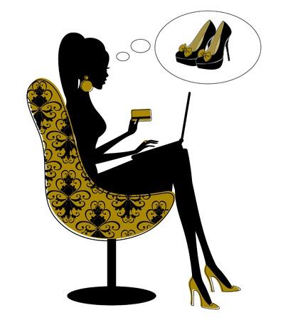 comprando zapatos: Silueta de una hermosa mujer de compras en Internet. Los elementos se agrupan y en capas para facilitar la edici�n.