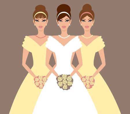 frau dusche: Vector Illustration eines sch�nen Braut und zwei Brautjungfern in gelben Kleidern.