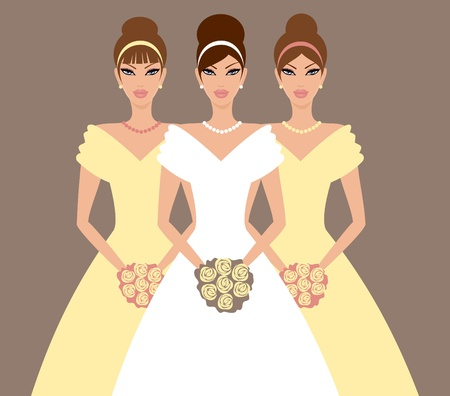 Vector illustration of a beautiful bride and two bridesmaid in yellow dresses.  Vector