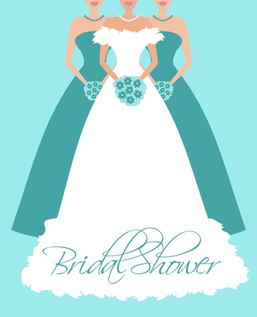 Vector illustration of a bride and two bridesmaid in blue dresses.  Vector