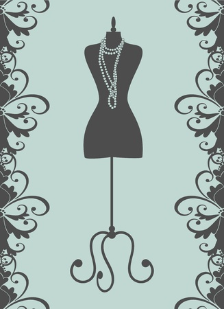fashion boutique: Vector illustration of a black tailor s mannequin  Elements are grouped and layered for easy editing