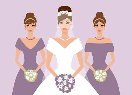 EPS10 vector illustration of a beautiful bride and two bridesmaids in elegant violet dresses.