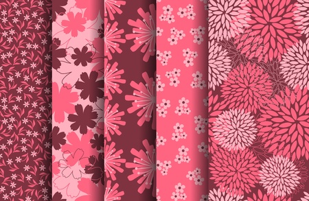 A set of five floral seamless patterns. vector file. Each pattern is grouped and placed on a separate layer.  Vector