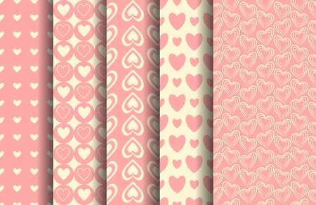 A set of five valentine seamless patterns. vector file. Each pattern is grouped and placed on a separate layer. Stock Vector - 12203048