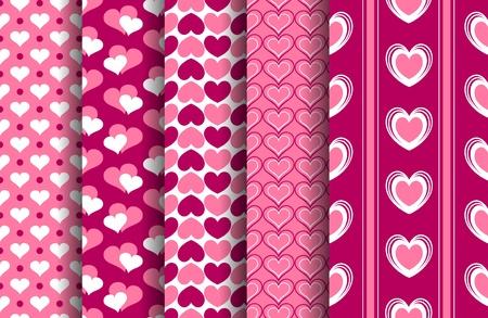 A set of five valentine seamless patterns. vector file. Each pattern is grouped and placed on a separate layer.  Vector