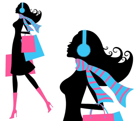 Vector illustration of a young fashionable woman holding shopping bags  Vector