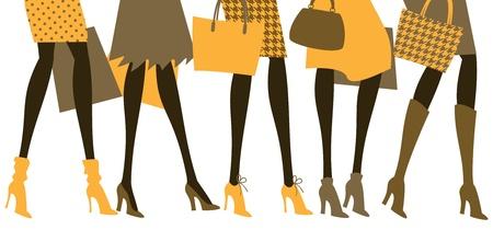 matching: Ilustraci�n vectorial de cinco mujeres que usan elegantes tacones altos y ropa en colores a juego