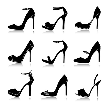 high heel shoes: Vector illustration of nine different models of high-heeled shoes  Each one is grouped and can be used separately