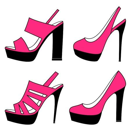 shoe sale: Ilustraci�n vectorial de cuatro diferentes modelos de zapatos de tac�n alto aislados sobre fondo blanco