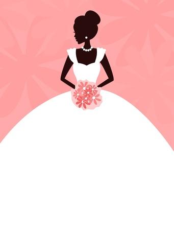 Illustrazione vettoriale di un giovane elegante un'azienda sposa fiori sfondo e la sposa sono raggruppati e collocati su livelli separati per una gestione semplificata Vettoriali