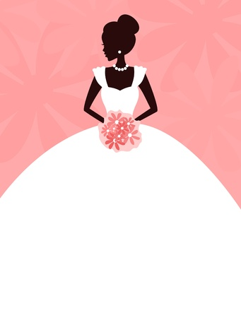 pink dress: Vector illustration of a young elegant bride holding flowers  background and bride are grouped and placed on separate layers for easy editing
