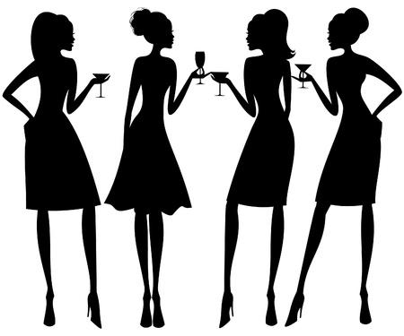black lady talking: Ilustraci�n vectorial de cuatro mujeres j�venes elegantes en un c�ctel