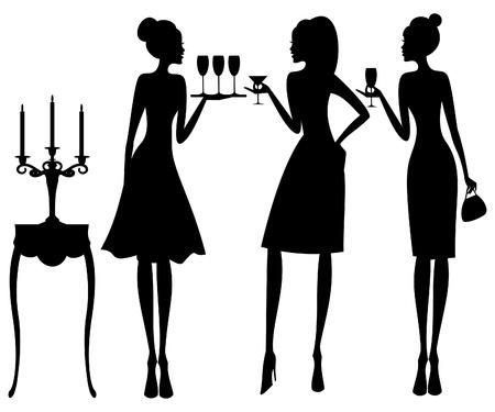 Ilustración vectorial de tres mujeres jóvenes elegantes en un cóctel