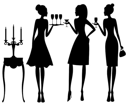 guests: Vector illustration of three young elegant women at a cocktail party