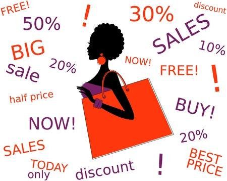 black family: Vector illustration of a girl surrounded by lots of shopping offers