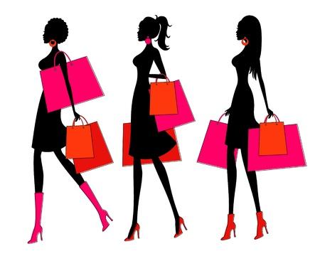 moda urbana: Ilustraci�n vectorial de tres mujeres j�venes con sus bolsas de compras de cada mujer se agrupan y se colocan en una capa separada para facilitar la edici�n