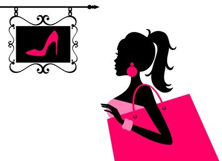 шопоголика: Векторная иллюстрация молодая женщина, глядя на знак обувной магазин
