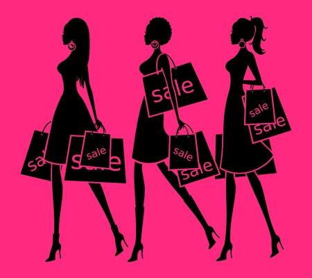 Ilustración vectorial de tres mujeres jóvenes que sostienen las compras de fondo bolsas y cada mujer se agrupan y se colocan en capas separadas